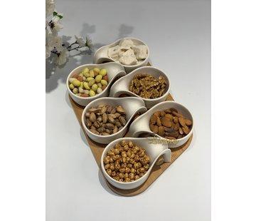 BRICARD PORCELAIN Bricard Snackset Met Bamboe Stand Wit 7 Delig