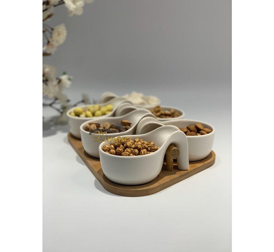 Bricard Snackset Met Bamboe Stand Wit 7 Delig
