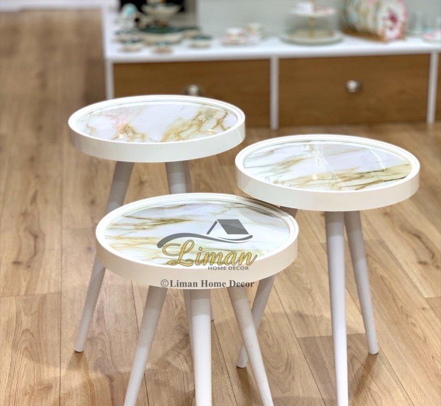 Bijzettafel Ronde 3 Delig Set Marmer Design Wit - Goud