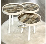 Bijzettafel Ronde 3 Delig Set Tugla Design