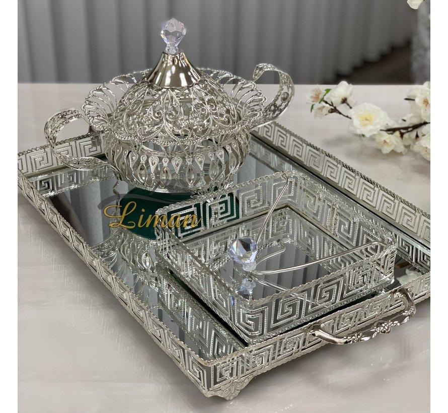 Athena Rechthoek Dienblad Zilver
