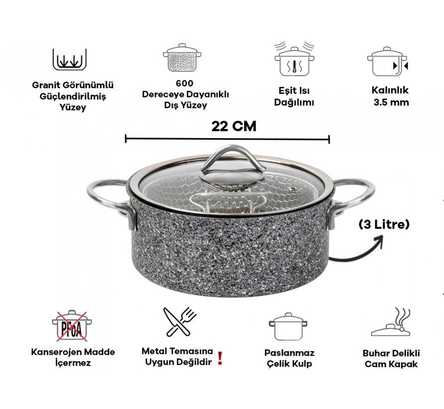 Tac Ultra Granit Frituurpan 22 Cm