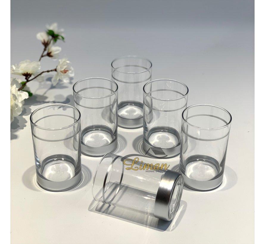 Borrelglazen Zilver 6 Delig