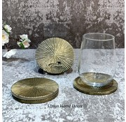 S|P Collection Coaster 10cm ribbed gold Charm - set/4