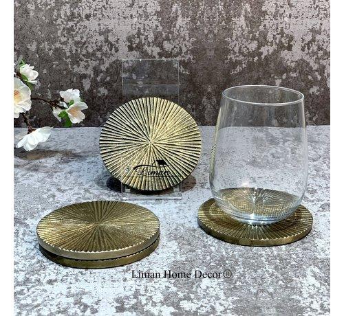 S P Collection Glasonderzetter 10cm geribbeld goud Charm - set/4