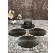 S|P Collection Glasonderzetter 10cm geribbeld zwart Charm - set/4
