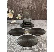 S|P Collection Sous-verre 10cm nervuré noir Charm - set/4