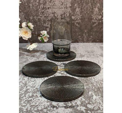 S P Collection Glasonderzetter 10cm geribbeld zwart Charm - set/4