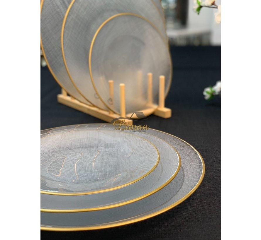 Bricard SIS Bordenset 21 cm Transparant - Gold 6 Delig