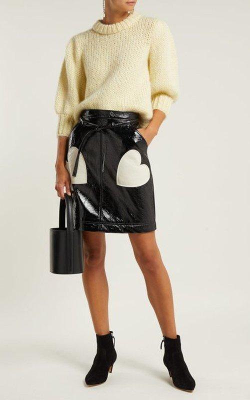 Alexa Chung A line tie front skirt black