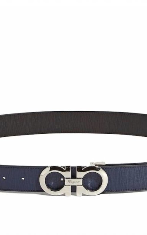 Salvatore Ferragamo Gancini belt navy brown sugar