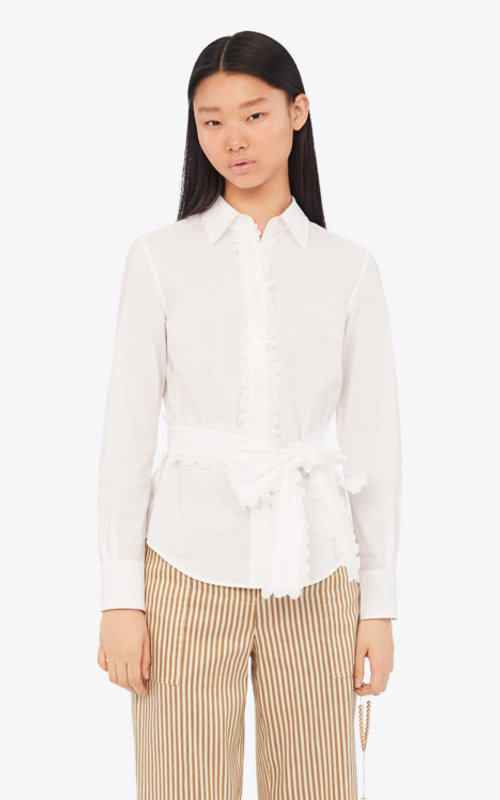 Scalloped cotton shirt