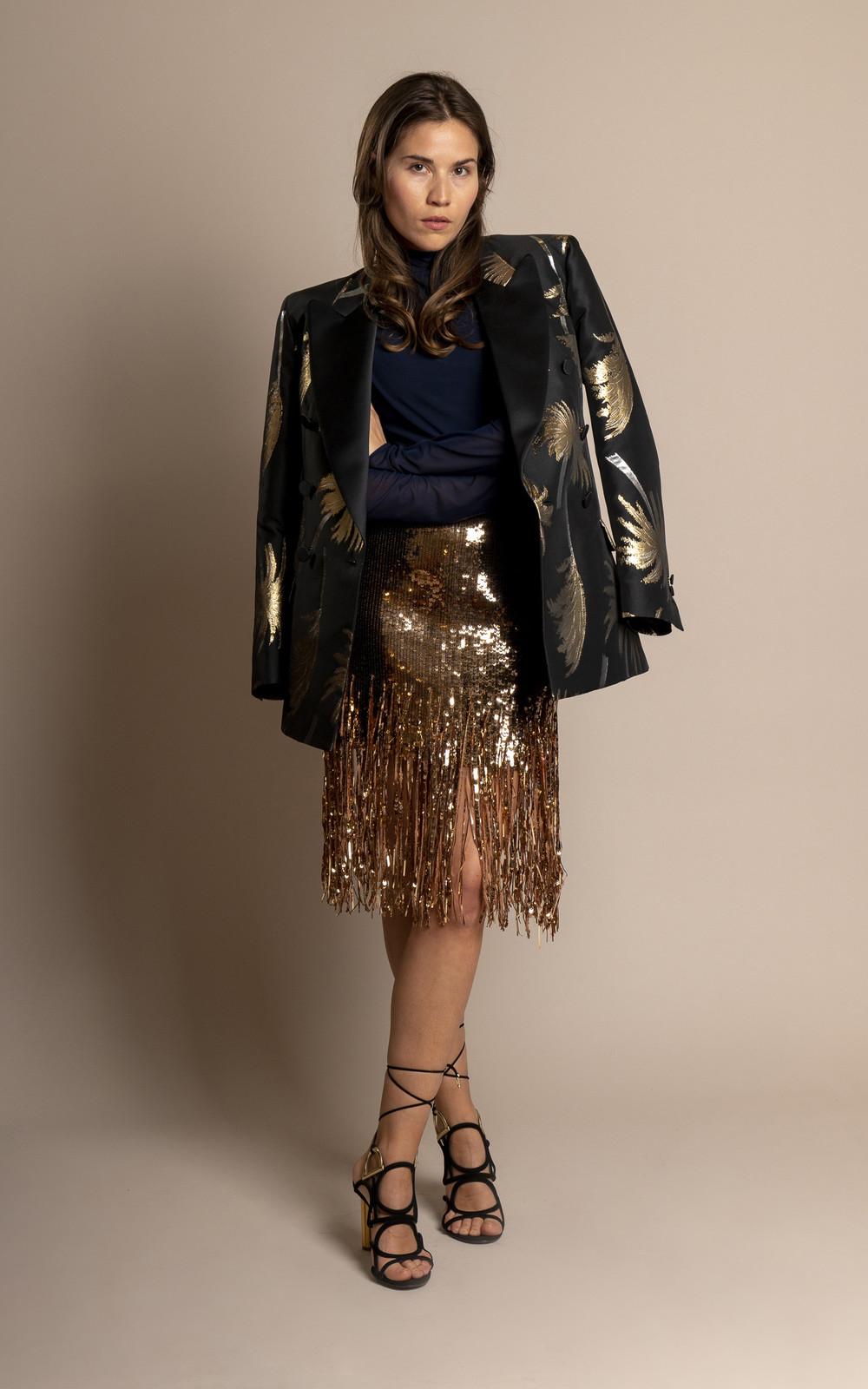 MSGM Black gold palm tree jacket