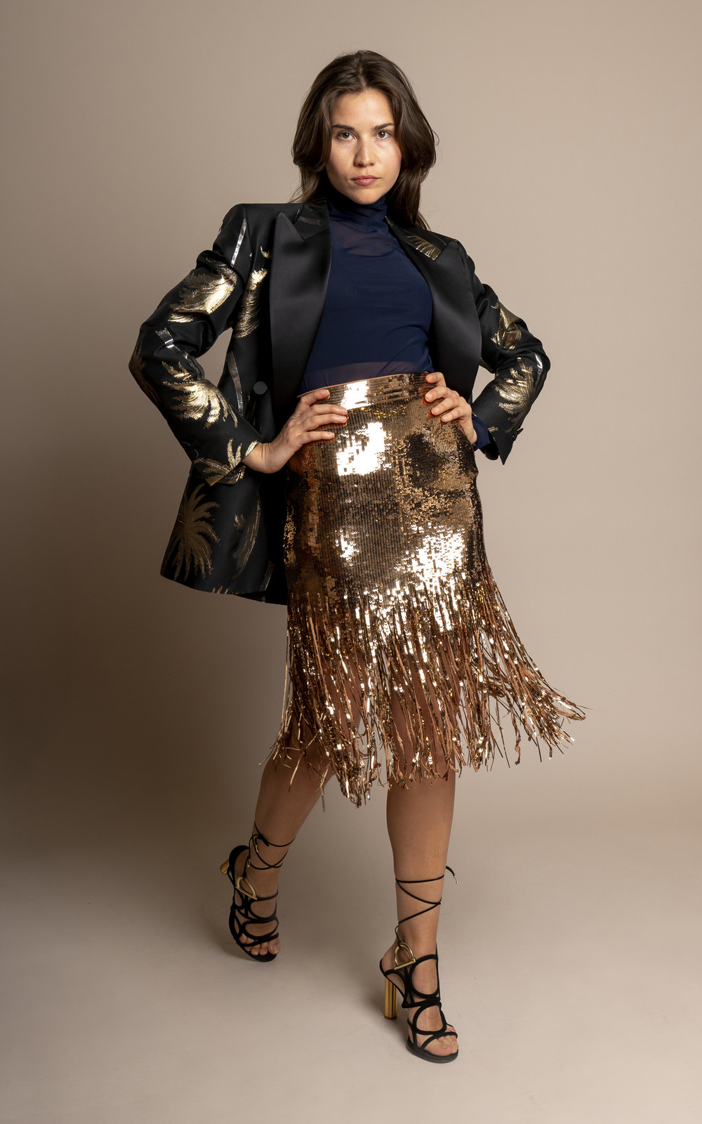 MSGM Shredded sequin skirt gold