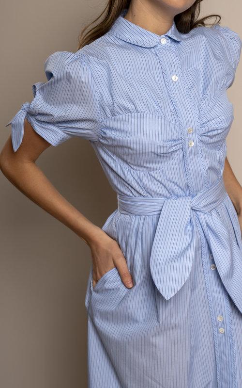 Alexa Chung Detail Shirt Dress Blue Pinstripe
