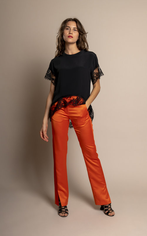 Flare trousers with tonal bands