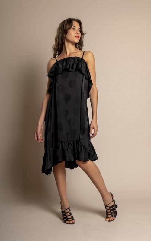 Strapped ruffles dress Black
