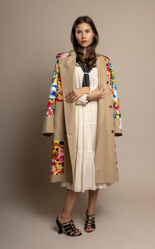 Trenchcoat flower print
