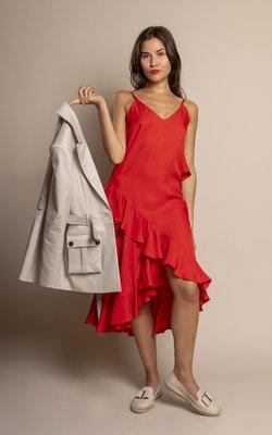Kenzo Long Slip Dress with ruffles