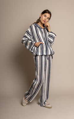 Tory Burch Blue striped linnen top