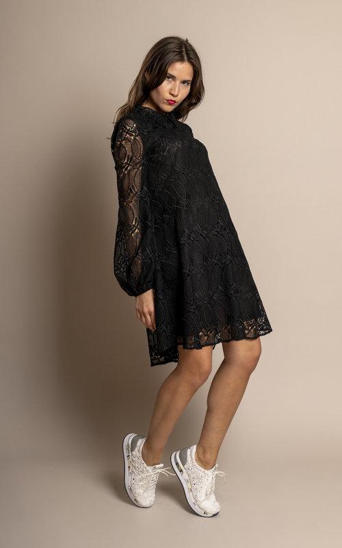 Giamba Macramé mini dress black