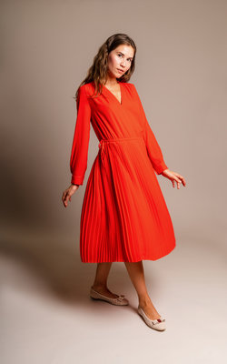 Kenzo Pleated coral dress
