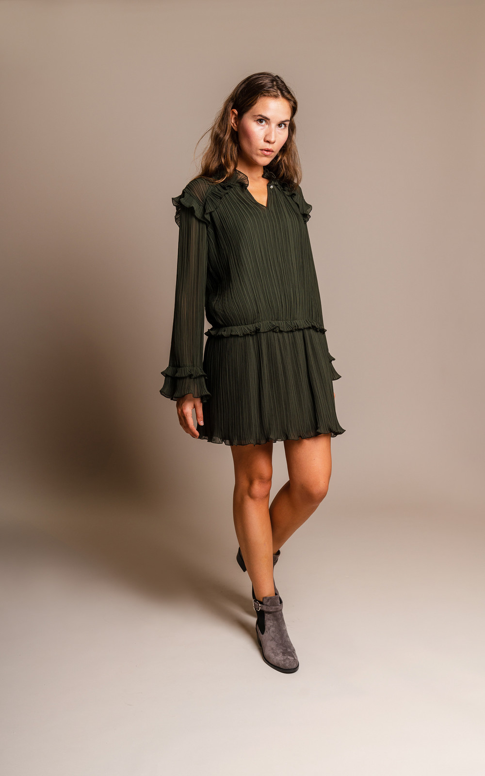 Kenzo Pleated khaki dress