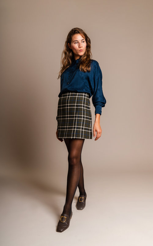 Mini check skirt khaki