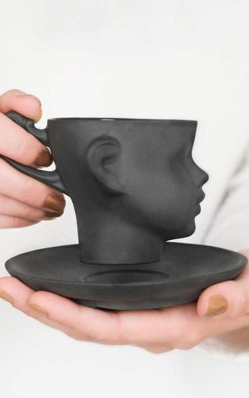 Doll head cup black with saucer