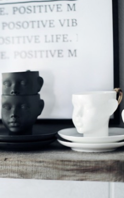 Ende Ceramics Doll head cup white with saucer