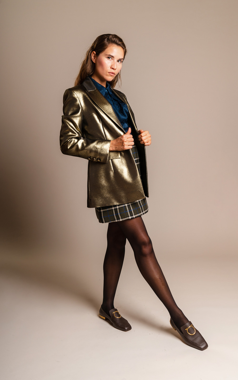 Alexa Chung Tailored SB Jacket Gold