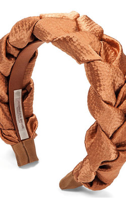 Jennifer Behr Headband Hammered Silk terracotta