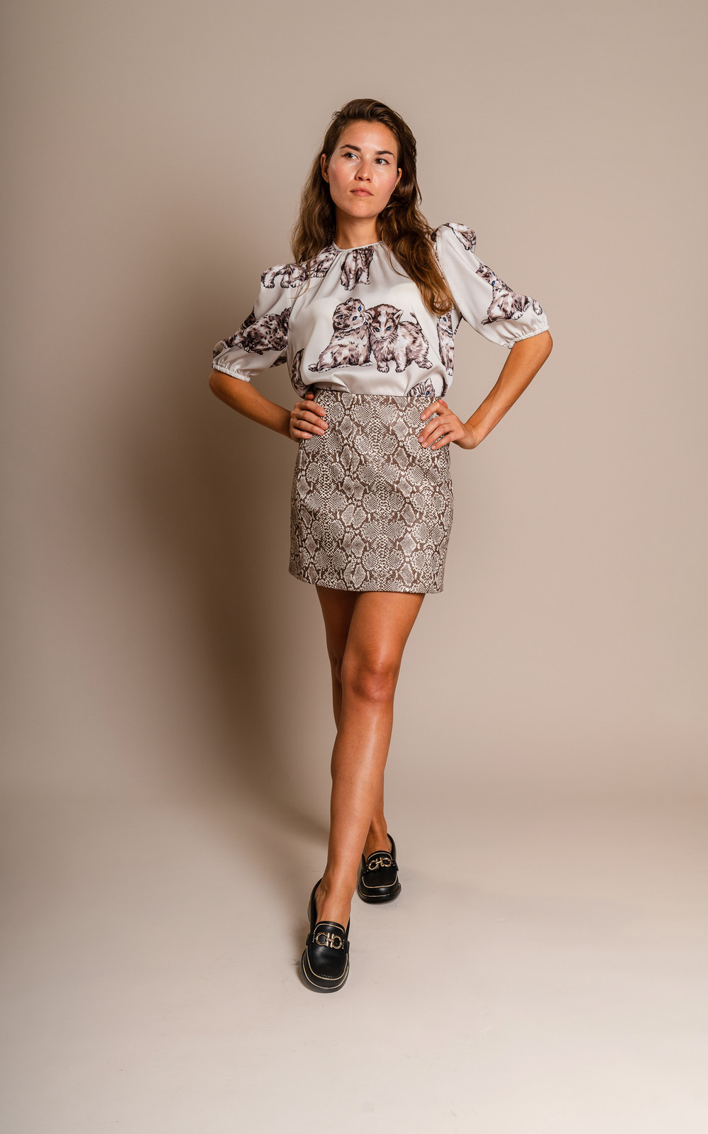 Alexa Chung Fake snake mini skirt brown