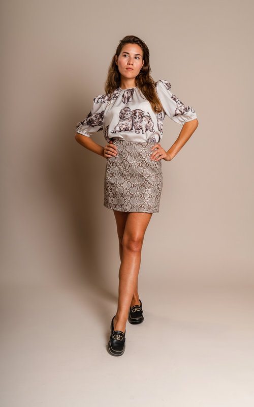 Fake snake mini skirt brown