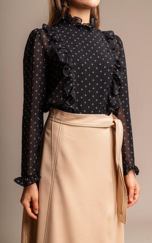 Ruffles detail blouse printed Black