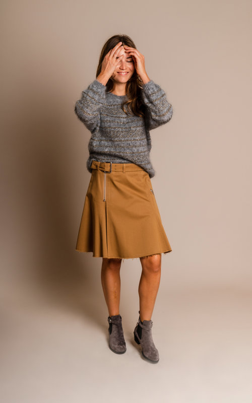 Zip detail skirt tan