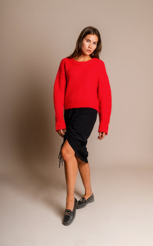 Chunky mohair jumper red