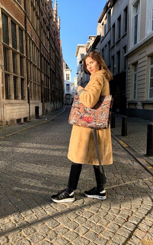 Alexa Chung Paneled chestnut coat