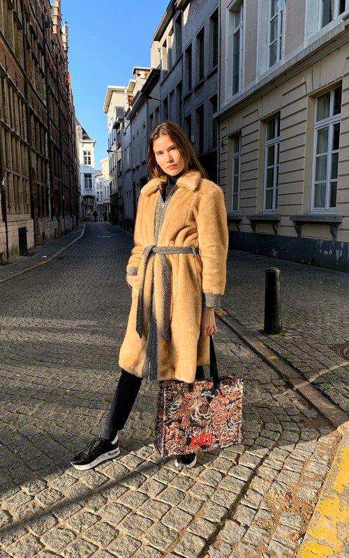 Paneled chestnut coat