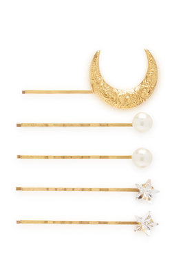 Jennifer Behr Oberon Bobby pin set crystal gold
