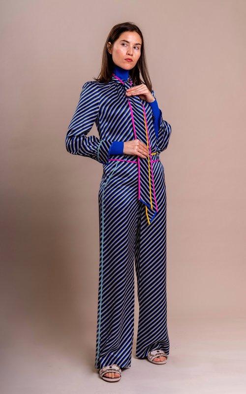 Tory Burch Contrast binding bias bow blouse