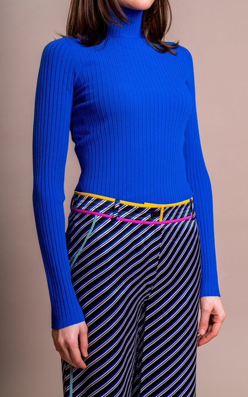 Tory Burch Ribbed turtleneck duchess blue