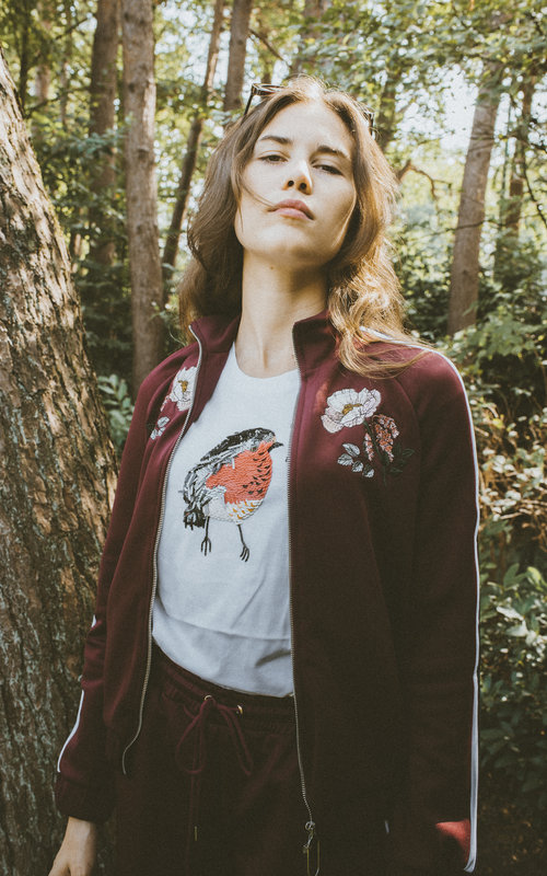MADDY FLOWER BLOOM TRACK JACKET Burgundi