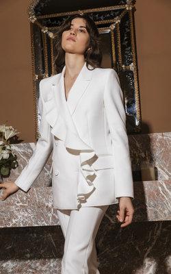 MSGM White ruffle blazer