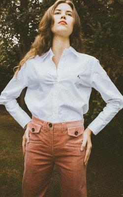 Alexa Chung Deep cuff white shirt
