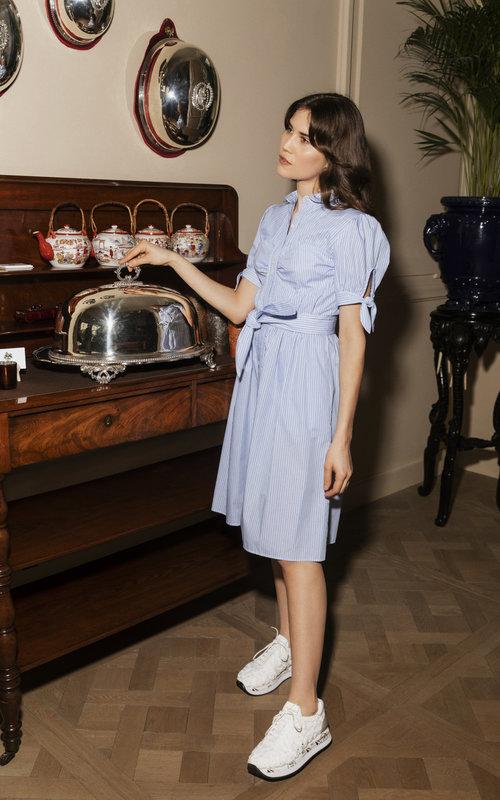 Detail Shirt Dress Blue Pinstripe