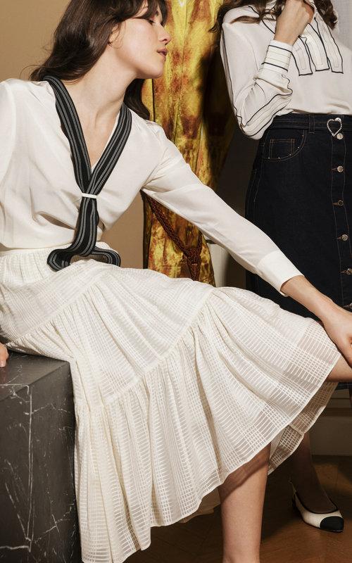 Textured georgette skirt