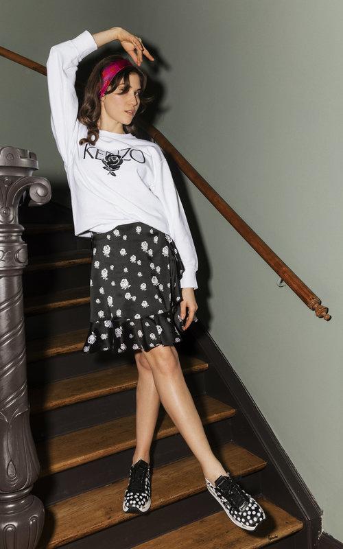 Soft ruffled skirt Black