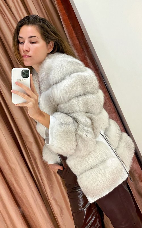 Mikele Adiyil Fur fox coat white