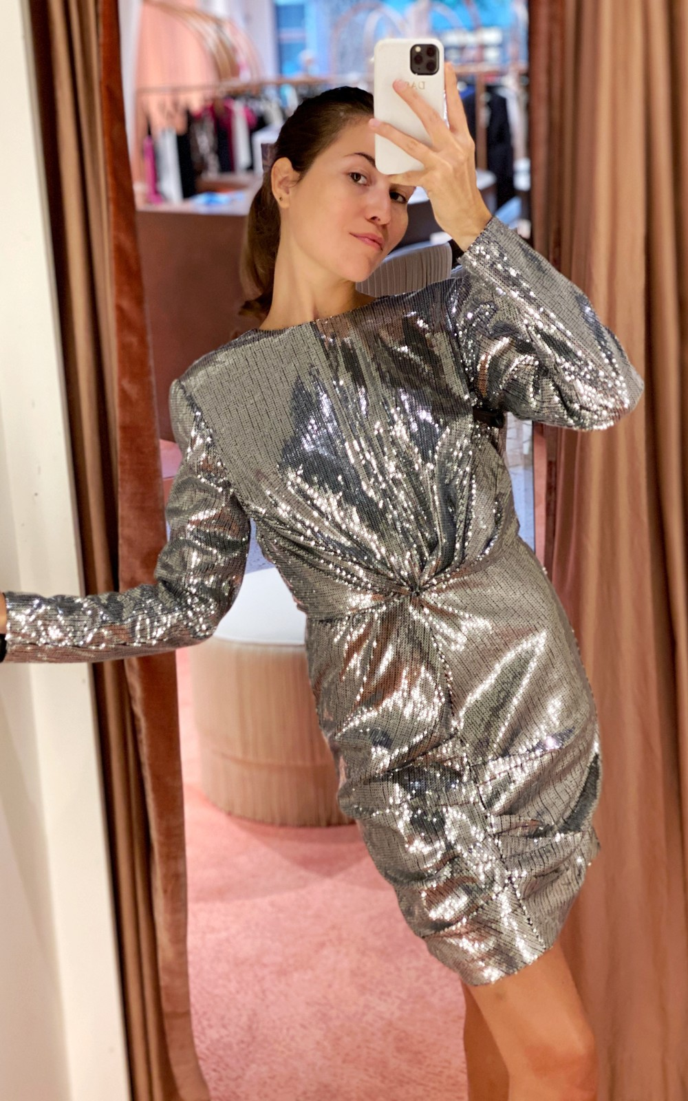 MSGM Silver sequin dress
